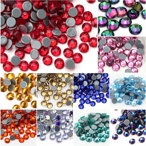 QIAO Multi-Color SS6-SS30 Crystal Glass Glitter Rhinestone Flatback Hot fix Rhinestones For Nail Art