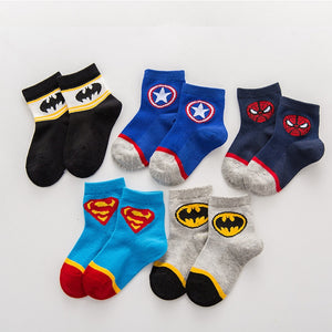 2 to 8years old kids Cartoon socks Super hero neonatal boys Breathable short Socks children baby