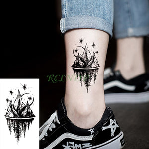 Waterproof Temporary Tattoo Stickers Moon Hill forest star Fake Tatto Flash Tatoo Tatouage Body