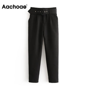Office Lady Black Suit Pants with Belt Women High Waist Solid Long Trousers Fashion Pockets Pants