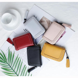 JANE'S LEATHER Women Function Card Holder Case ID Credit Passport Cover Tassel Cards Wallet Document