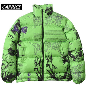 Hip Hop Comic print Jacket 2019 Men/Women Harajuku Winter Thick Parkas Streetwear Warm Jackets