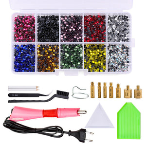 Set 2000pcs Hot fix Rhinestones Hotfix Applicator with 7 Tips Crystal Glass Rhinestone Iron-on