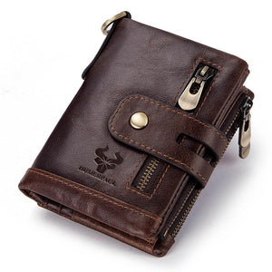 100% Cowhide Genuine Leather Men Wallet Coin Purse Small Mini Card Holder Vintage PORTFOLIO
