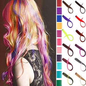 "24"" Long Straight Fake Colored Hair Extensions Clip In Highlight Rainbow Hair Streak Pink"