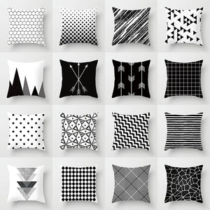 Buy 5 Get 1 Free Black and White Geometric Abstract Decorative Pillowcases Polyester Throw Pillow