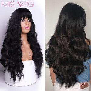 MISS WIG Long Wavy Wigs for Black Women African American Synthetic Hair Grey Brown Wigs with Bangs