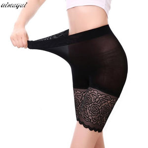 2PCS High Waist Safety Short Pants Soft Body Slim Underwear Knickers Sexy Lace Shorts Under Skirt