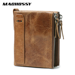 100% Genuine Leather Men Wallet Small Zipper Pocket Men Wallets Portomonee Male Short Coin Purse