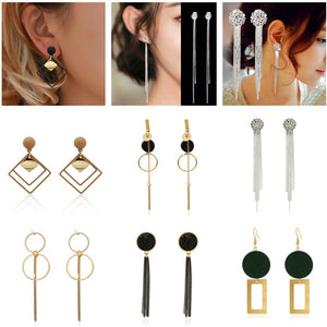 2019 Personality Fashion round geometric wood earrings Retro female tassel long women earrings