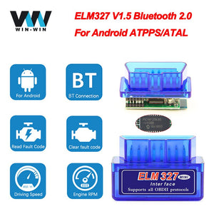 Super Mini ELM 327 V1.5 PIC18F25K80 obd2 Scanner Bluetooth ELM327 V1.5 1.5 OBD 2 OBD2 Car Diagnostic