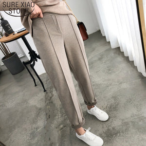 Thicken Women Pencil Pants 2019 Autumn Winter Plus Size OL Style Wool Female Work Suit Pant Loose