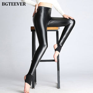BGTEEVER Spring Autumn Winter Soft PU Leather Pant Women Velvet Pants Warm Stretch Skinny Trousers