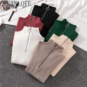 OCEANLOVE Zipper Half Turtleneck Sweater Women Solid Slim Autumn Winter Clothes 2020 Sueter Mujer