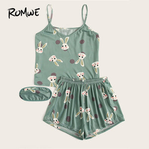 ROMWE Rabbit Print Polka Dot Pajamas For Women Sleepwear Green Pj Shorts Set With Eye Mask Summer Night Wear Cartoon Sleep Wear