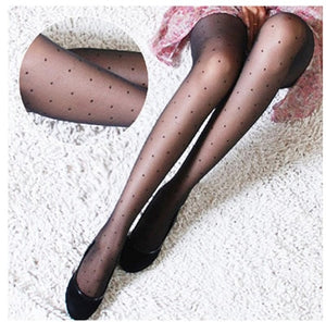 Women's Tights Classic Small Polka Dot Silk Stockings.Thin Lady Vintage Faux Tattoo Stockings