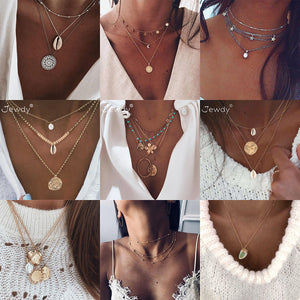 26 Styles Boho Shell Pendant Necklace for Women Long Chain Round Charm Statement Choker 2019