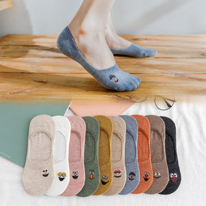 Embroidered Expression Woman Socks Cool Invisible Sock Slippers Women Summer Boat No Show Cotton 1