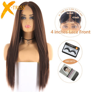 Medium Brown Color Synthetic Hair Wigs For Women X-TRESS Long Yaki Straight Lace Front Wig With