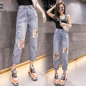 Woman Jeans High Waist Ripped Jeans 2020 Sale Items For Clothes Wide Leg Denim Clothing Blue
