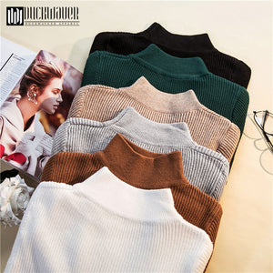 Autumn Winter Women Pullovers Sweater Knitted Elasticity Casual Jumper Fashion Slim Turtleneck