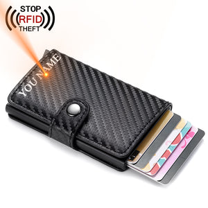 Hasp Men Credit Card Holder RFID Blocking PU Leather Automatic Business ID Card Holder Aluminum