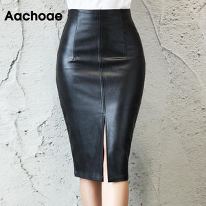 Black PU Leather Skirt Women 2020 New Midi Sexy High Waist Bodycon Split Skirt Office Pencil Skirt Knee Length Plus Size