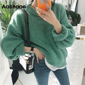 Sweater Women 2020 Autumn Winter Fashion Solid O Neck Pullover Sweaters Korean Style Knitted Long