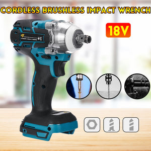 18V Electric Brushless Impact Wrench Rechargeable 1/2 Socket Wrench Power Tool Cordless Without