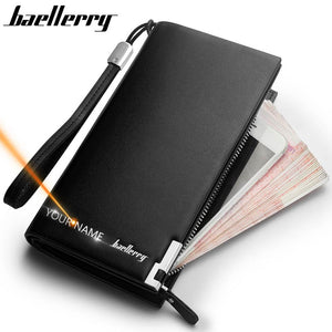 Baellerry Men Wallets Classic Long Style Card Holder Male Purse Quality Zipper Large Capacity Big