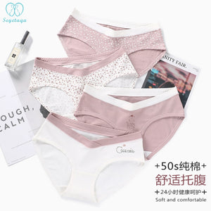 5544# 2 PcS/Bag Sexy Printed Cotton Maternity Panties Low Waist V Briefs for Pregnant Women Summer