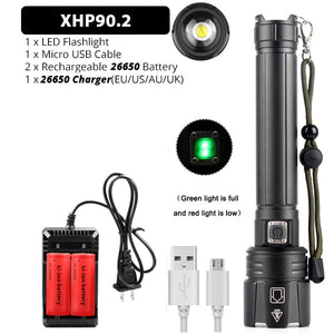 Brightest XHP70.2 XHP90 Rechargeable LED Flashlight Powerful Torch Super Waterproof Zoom Hunting