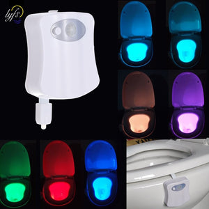 Smart Bathroom Toilet Night Light LED Body Motion Activated On/Off Seat Sensor Lamp 8 Color PIR