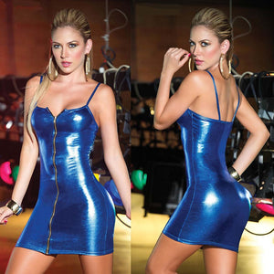 Sexy Ladies Women's PU Mini Dresses Dress Leather Front Zip Straight Clubwear Catsuit Bodycon