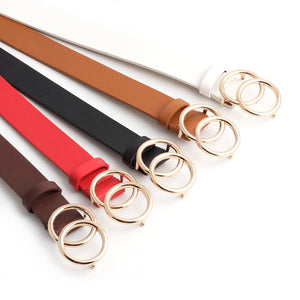 2020 New Designer Women Wide Black Red White Brown Leather Waist Belt Woman Double O Ring Belts for Dress Cinturones Para Mujer