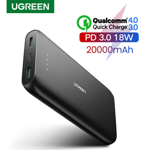 Ugreen Power Bank 20000mAh Fast Phone Charger Quick Charge 4.0 QC3.0 Portable External Battery for