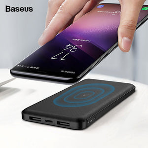 Baseus 10000mAh Qi Wireless Charger Power Bank External Battery Wireless Charging Powerbank For