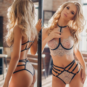Lingerie Women Sexy Lace Embroidery Lingerie Set Halter Bra Hollow Thong Set Lingerie Sleepwear