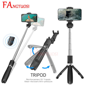 FANGTUOSI NEW Wireless Bluetooth Selfie Stick 3 in 1 Extendable Handheld Monopod Mini Tripod With