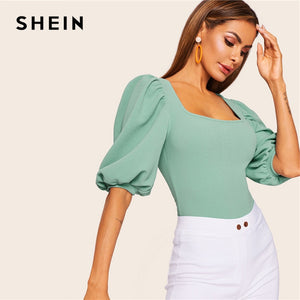 SHEIN Turquoise Puff Sleeve Solid Fitted Square Neck Tee T Shirt Women Summer Half Sleeve Elegant Workwear T-shirt Tops