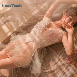 IRENE TINNIE Sexy Deep V Lingerie Women See Through Lace Pajamas Thong Panties Sets Mini
