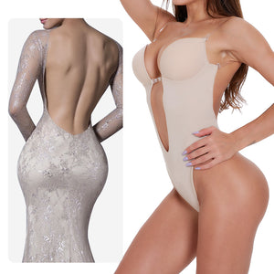 waist trainer shaper Body tummy Shaper Shapewear Faja women Deep V Bodysuit Clear Strap Backless