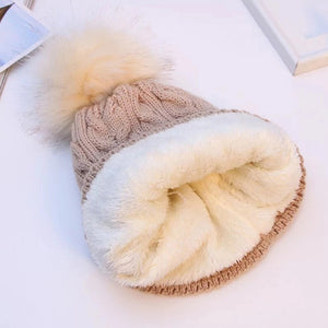 Women Winter Bonnet Soft Thick Fleece Lined Dual Layer Knitted Beanie With Faux Fur Pom Pom Hats