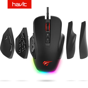 Havit Gaming Mouse 10000 DPI Wired Mice with 14 Programmable Buttons Interchangeable Side Plates , 2 Replaceable Right Plates
