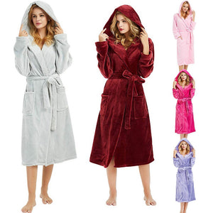 Winter Plush size 5XL Hooded Lengthened Thermal Plush Shawl Bathrobe Sleepwear Long Sleeved