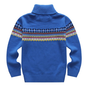 Spring and Autumn 100% Cotton Boys Pullover Sweater Basic Turtleneck Shirt Child Knitted Sweater for