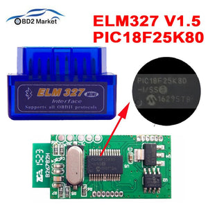 MINI ELM327 V1.5 PIC18F25K80 Bluetooth OBD2 Scanner Diagnostic adapter ELM 327 v1.5 OBD OBDII Code