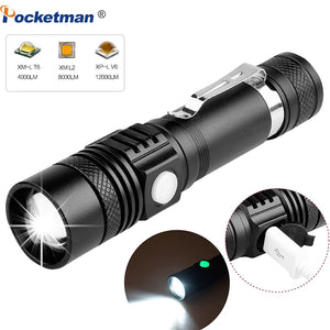 6200LM Super Bright Led flashlight USB linterna led torch T6/L2/V6 Power Tips Zoomable Bicycle Light