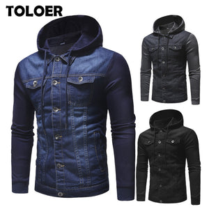 New Fashion Men Denim Jacket Mens Cowboy Cotton Slim Fit Single Breasted Jacket Casual Spring Male