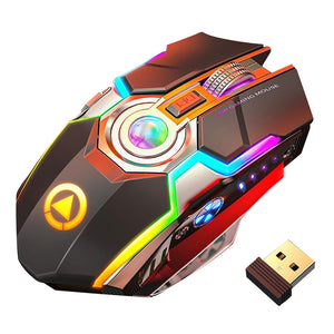 Wireless Gaming Mouse Rechargeable Gaming Mouse Silent Ergonomic 7 Keys RGB Backlit 1600 DPI mouse